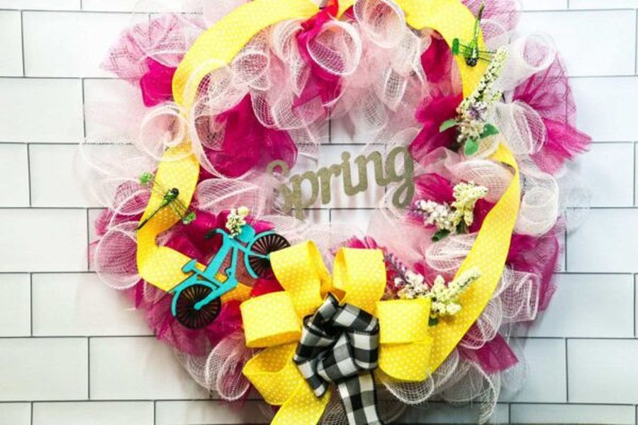 Colorful wreath made with mesh ribbon