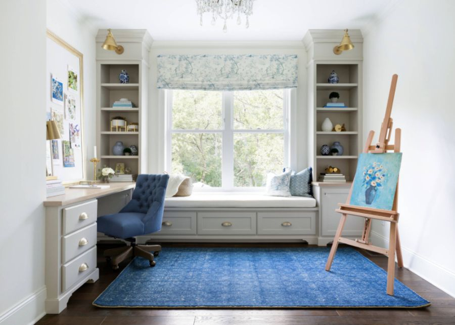 Art studio with window seat