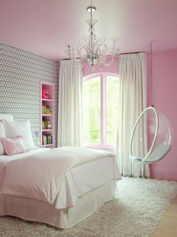 Pink room hanging bubble chair