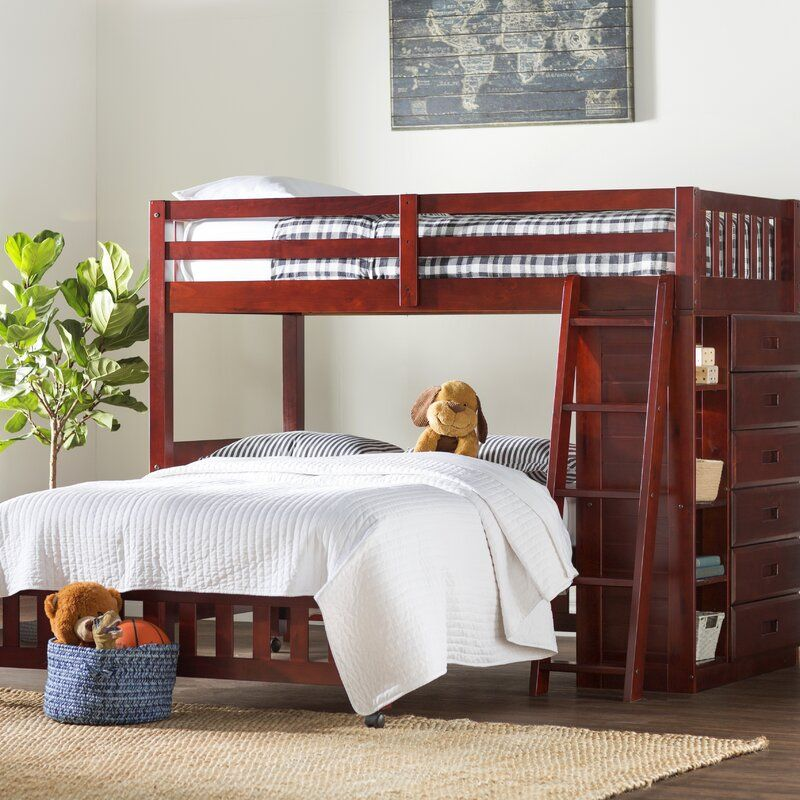 Twin Over Full 6 Drawer Solid Wood L-Shaped Bunk Beds with Bookcases with Shelves