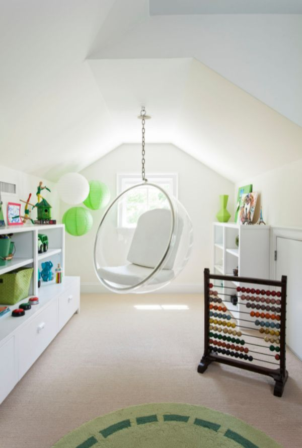 Attic room hanging bubble chair