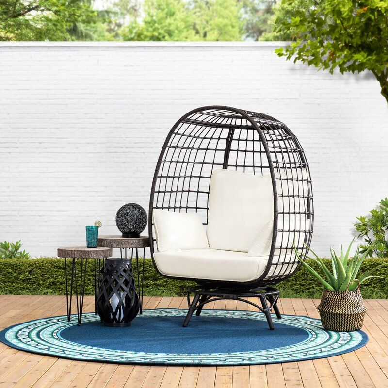 Wellow Baytree Egg Swivel Patio Chair with Cushions