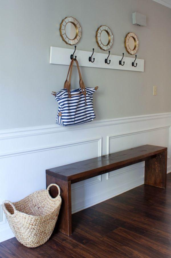 Wall-mounted coat rack and freestanding bench combo