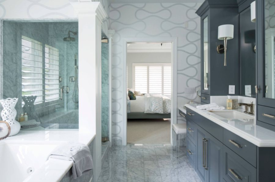 Bathroom wallpaper with Unexpected beauty decor