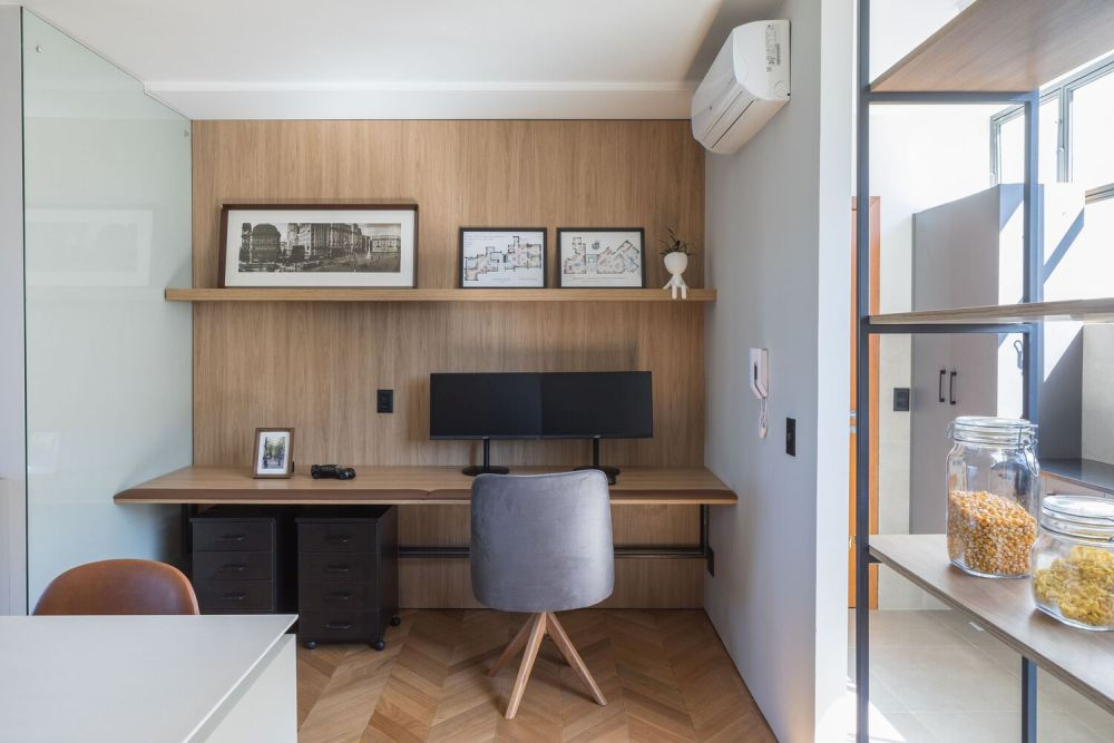 The small office area was opened up and integrated into the rest of the open floor plan