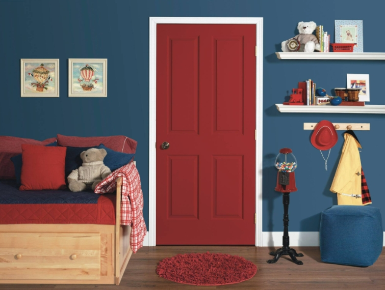Red And Medium Blue bedroom color