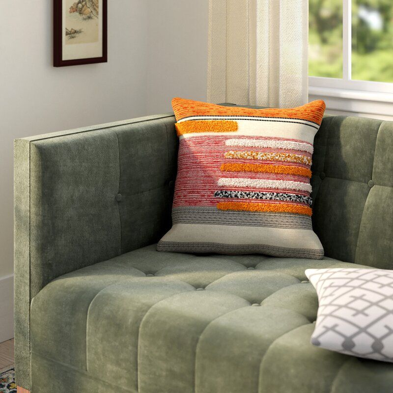 Davon Lined Square Cotton Pillow Cover and Insert