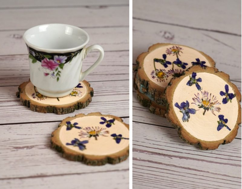 How To Use Pressed Flowers To Make Gorgeous Wooden Coasters