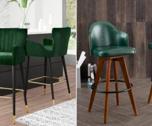 Create A Chic Breakfast Bar Space With A Green Bar Stool