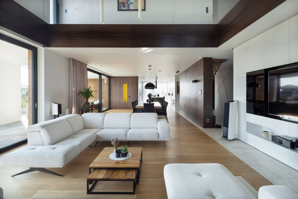 A big and open space on the ground floor houses the main social areas