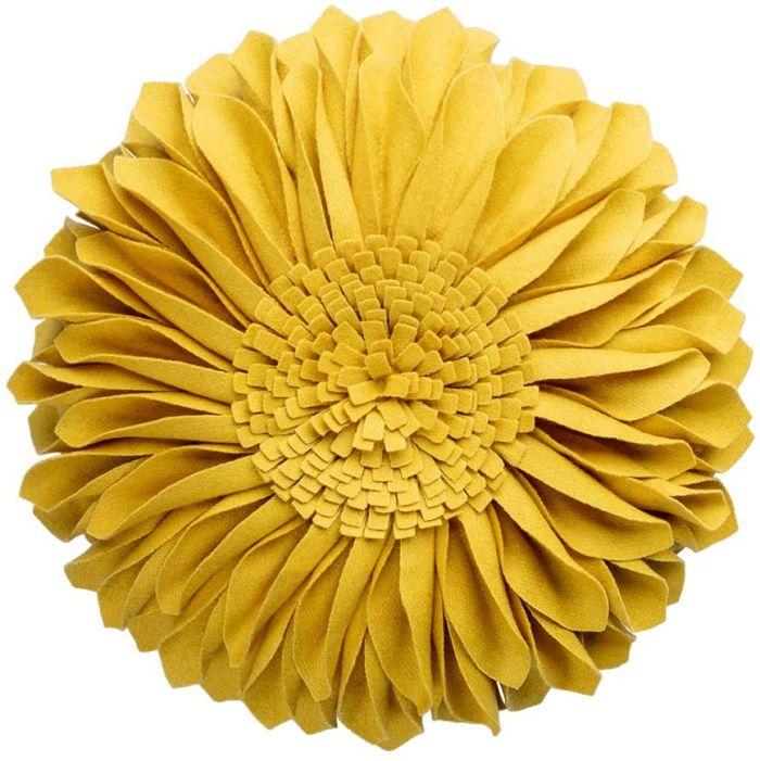 JWH 3D Sunflower Throw Pillow Hand Craft