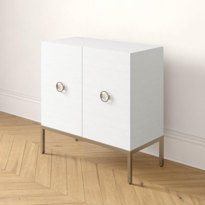 Maci Metal Base 2 Door Square Accent Cabinet