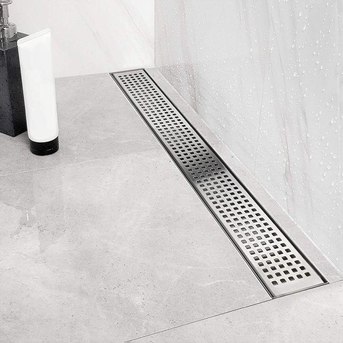 Neodrain 24 Inch Linear Shower Drain with Quadrato Pattern Grate