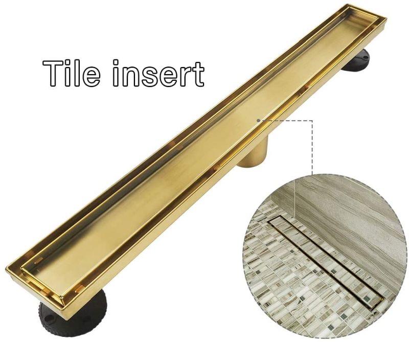 Neodrain Brushed Brass Linear Shower Drain