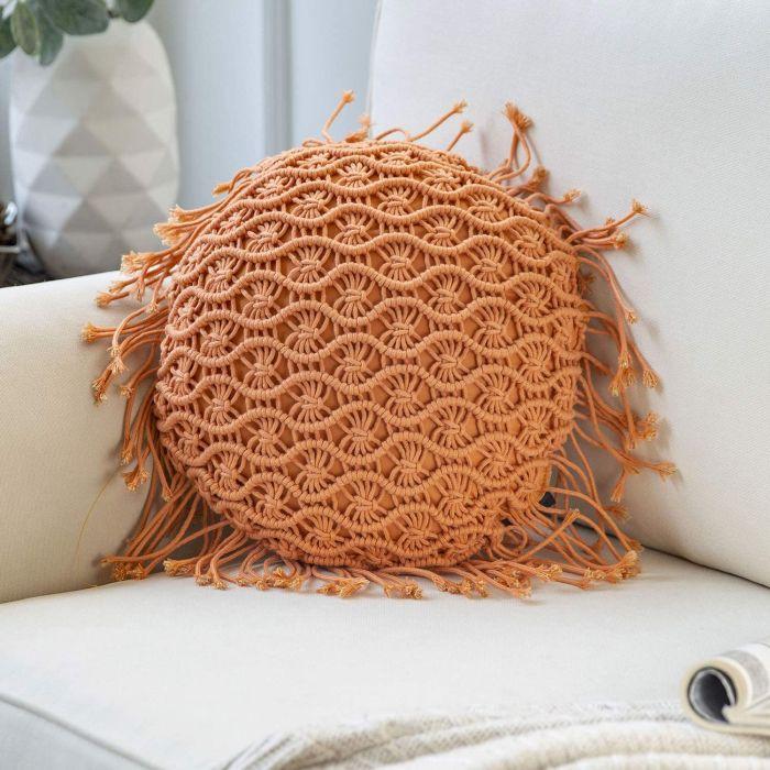 Phantoscope Handmade Crochet Woven Boho Throw Pillow with Tassel Cute