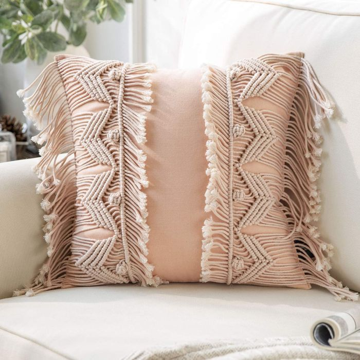 Phantoscope Handmade Symmetry 3D Crochet Woven Boho Throw Pillow