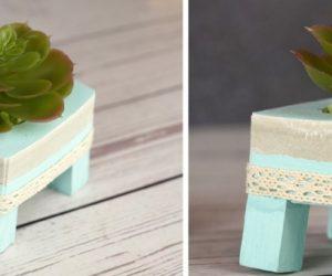 DIY Concrete Succulent Planter With Tiny Wooden Legs and Lace Trim