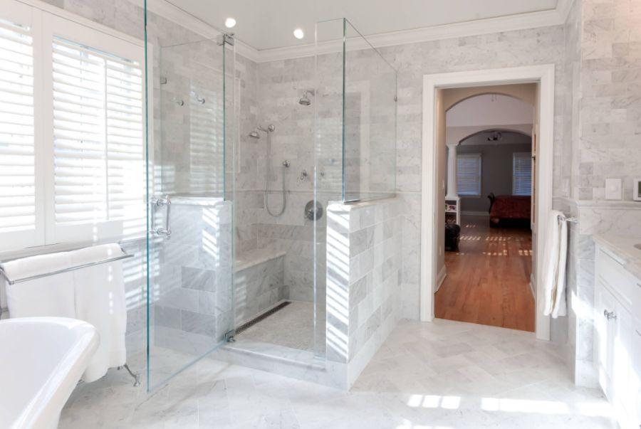 Luxury Shower with body sprays and frameless glass