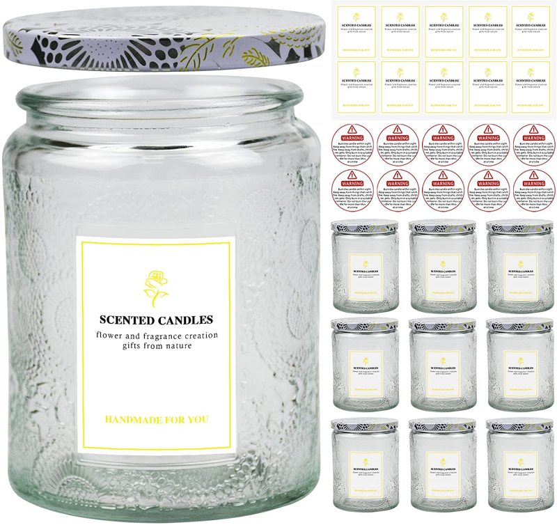 Creahaus 8.8OZ Embossed Glass Candle Jars