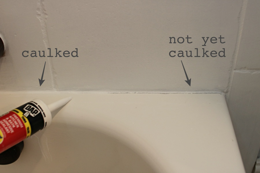 bathroom caulk tub