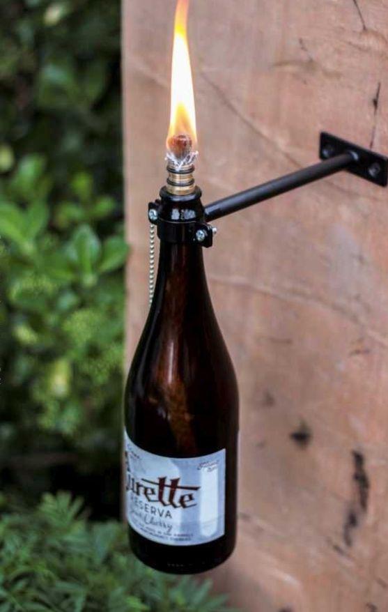 Beer bottle tiki torches