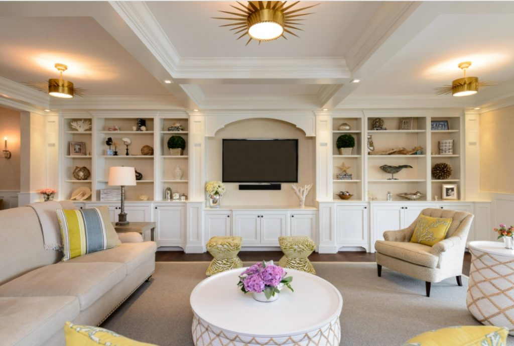 Beige living room with gold accents
