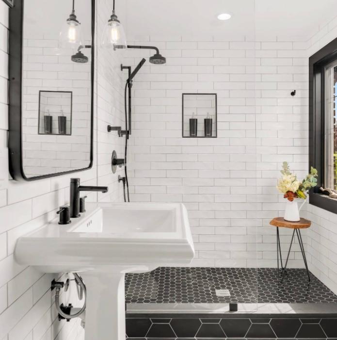 Black & White Remodeled Bathroom
