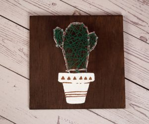 Cactus Nail String Art With Painted pot