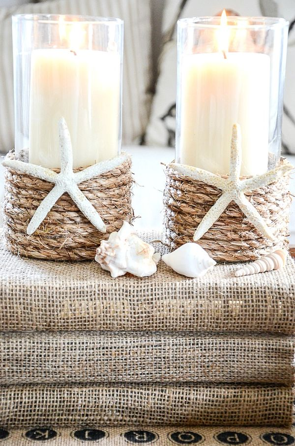 Candleholder decorations with coastal vibes