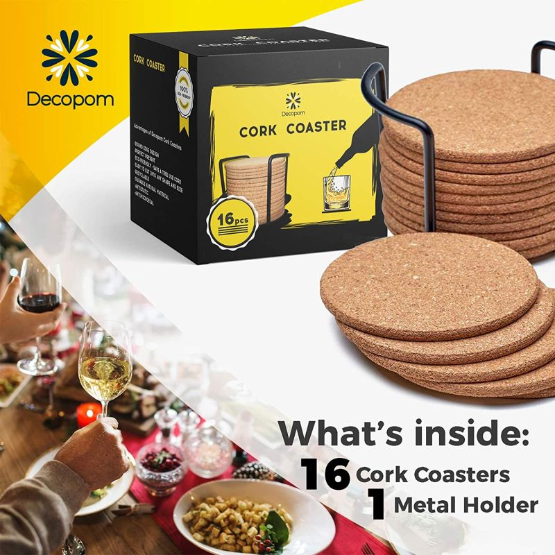 Cork Coasters with Round Edge with Metal Holder Storage Caddy