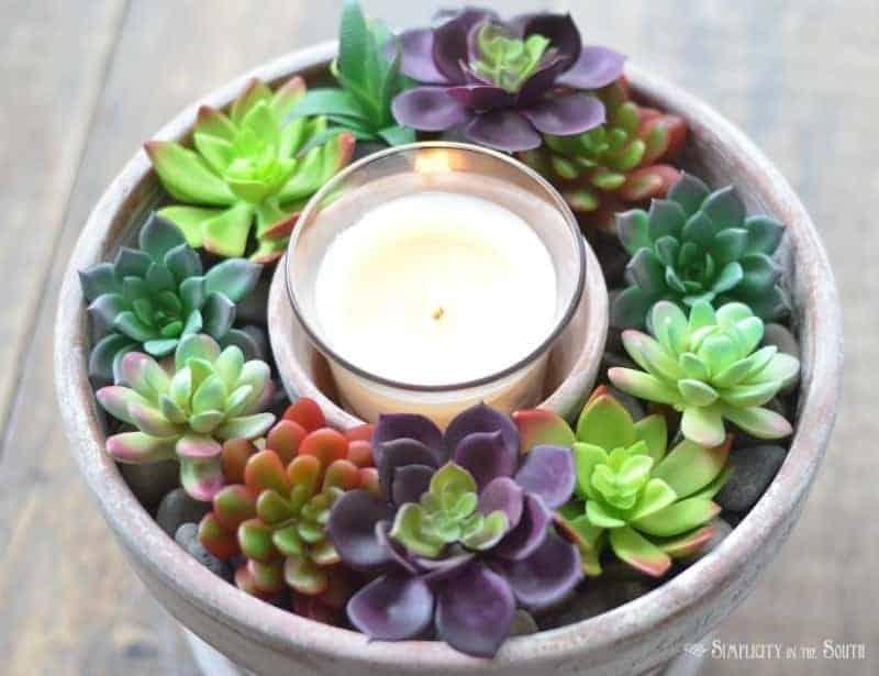 Dollar Tree Succulent Candle Centerpiece