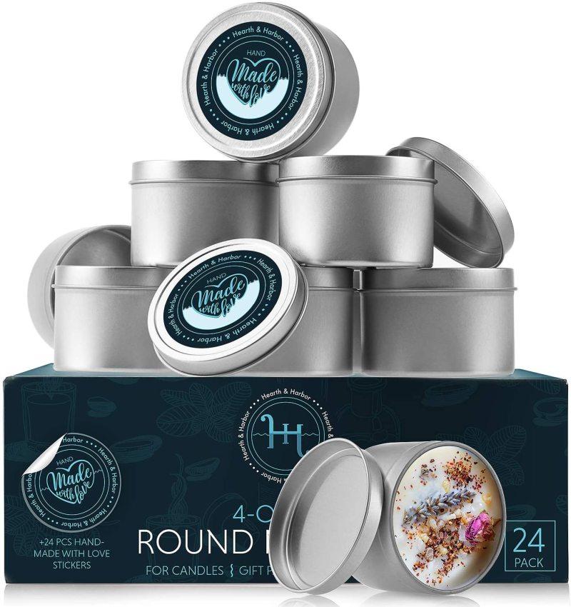 Hearth & Harbor Tin Candle Jars 4 Oz