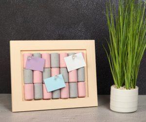 Cute DIY Framed Cork Board Made From Scratch