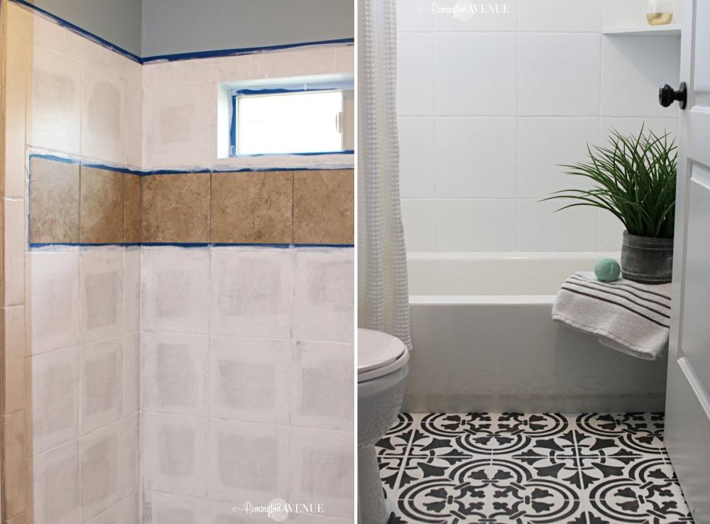 bathroom shower painted tiles