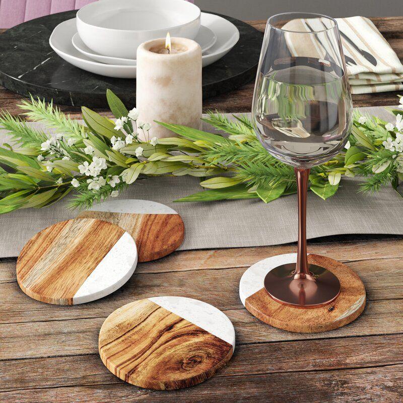 Ivy Round Marble and Mango Wood Coaster