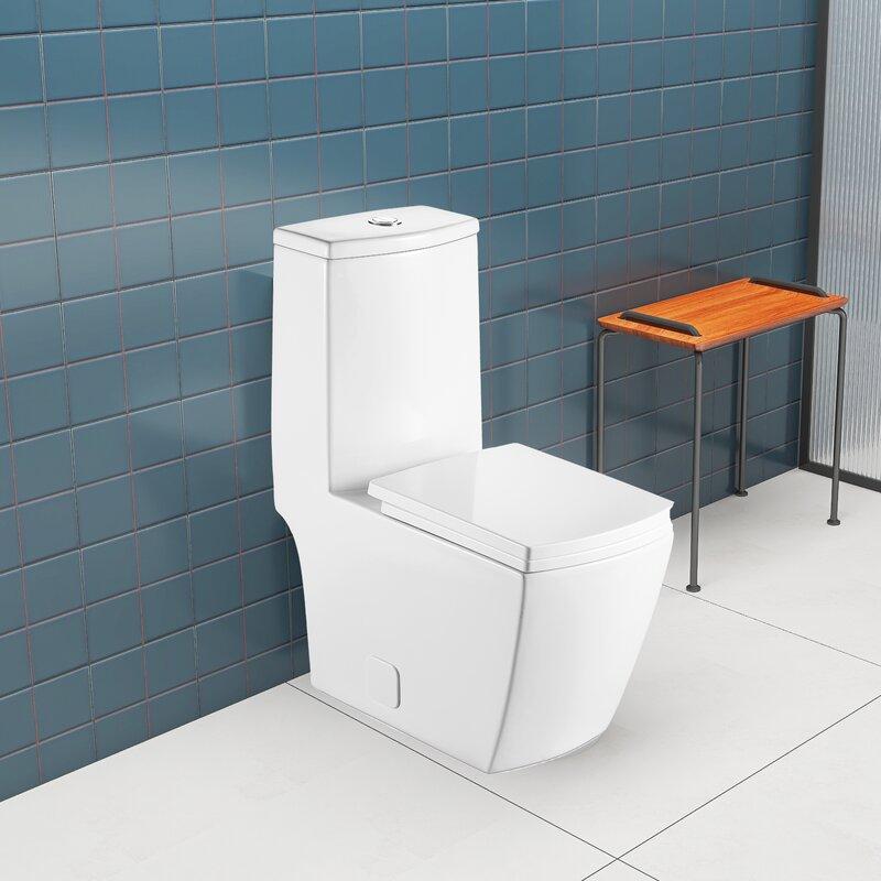 Jimsmaison dual flush elongated one piece toilet seat included
