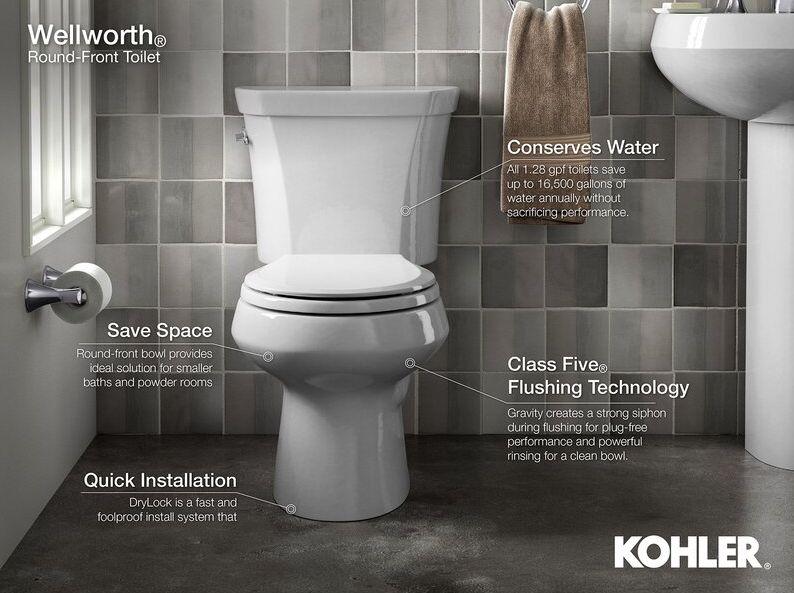 K-3989-RA-0 Highline Comfort Height 2-Piece Elongated Dual-Flush Toilet