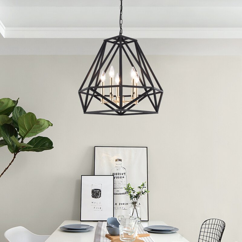 Light Unique Geometric Chandelier with Wrought Iron Accents