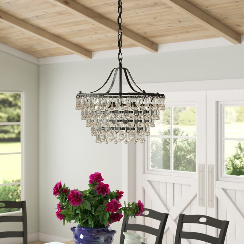 Light Unique Statement Tiered Chandelier with Crystal Accents