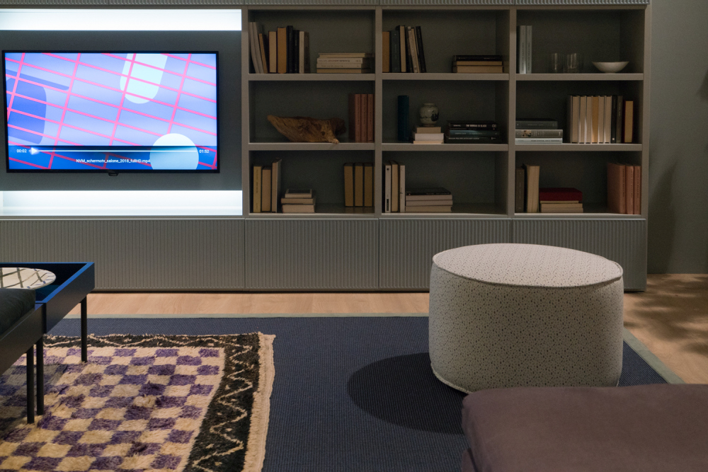 living room with wall mounted tv and hide wire