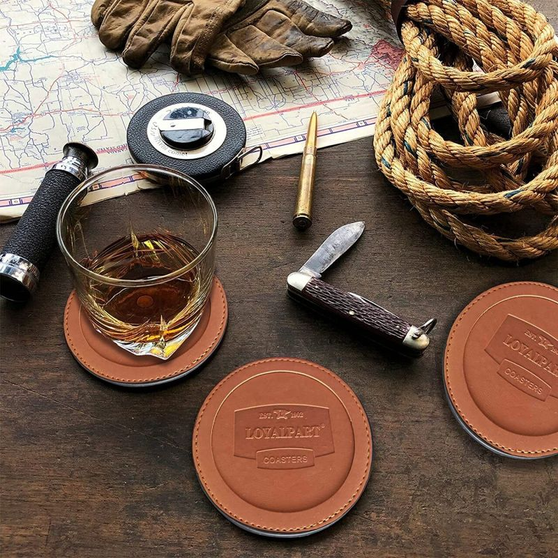 Loyalpart Coaster Leather Coasters for Drinks with Holder for Wooden Table