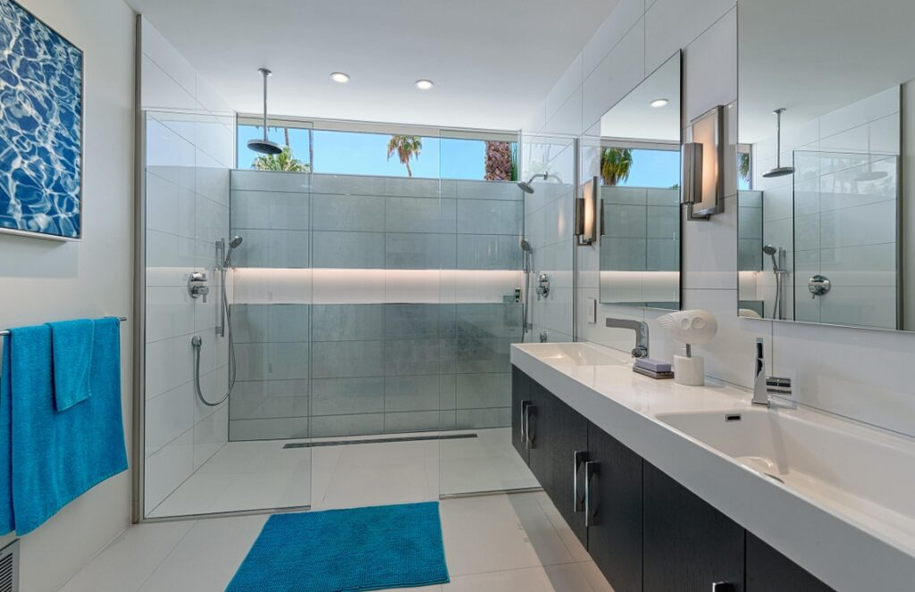 Master bathroom with roll in shower