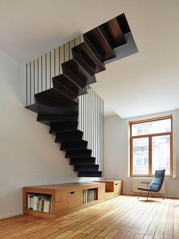 Metal staircase suspended above the floor