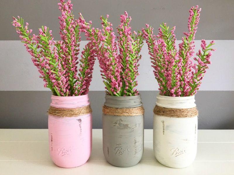Pink Mason Jar Centerpieces