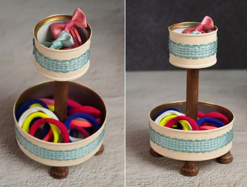 Clever Tin Can Crafts – Double-Tiered Stand/ Organizer