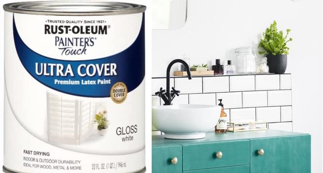 Rust-Oleum Store Bathroom Tile Painters Touch Latex Quart Gloss White