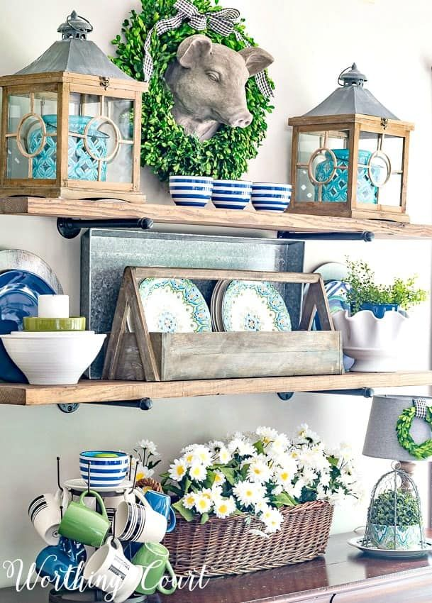 rustic open shelves decorated for summer