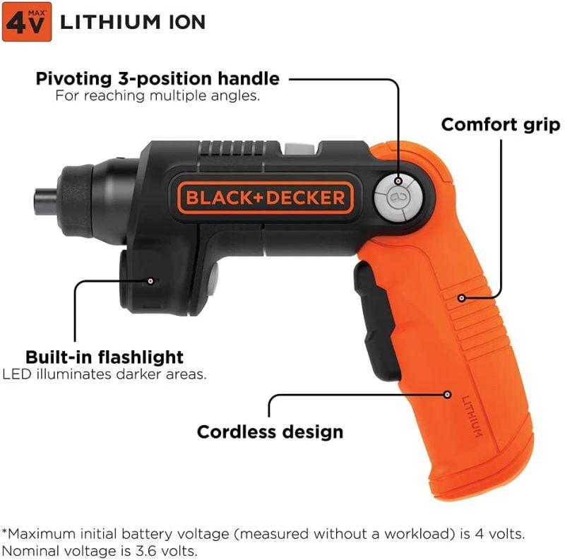 Our Rec for Best Power Screwdriver: BLACK+DECKER 4V MAX Cordless Screwdriver
