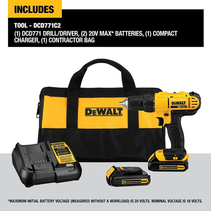 We Recommend this Drill Driver: DEWALT 20V Max Cordless Drill / Driver Kit