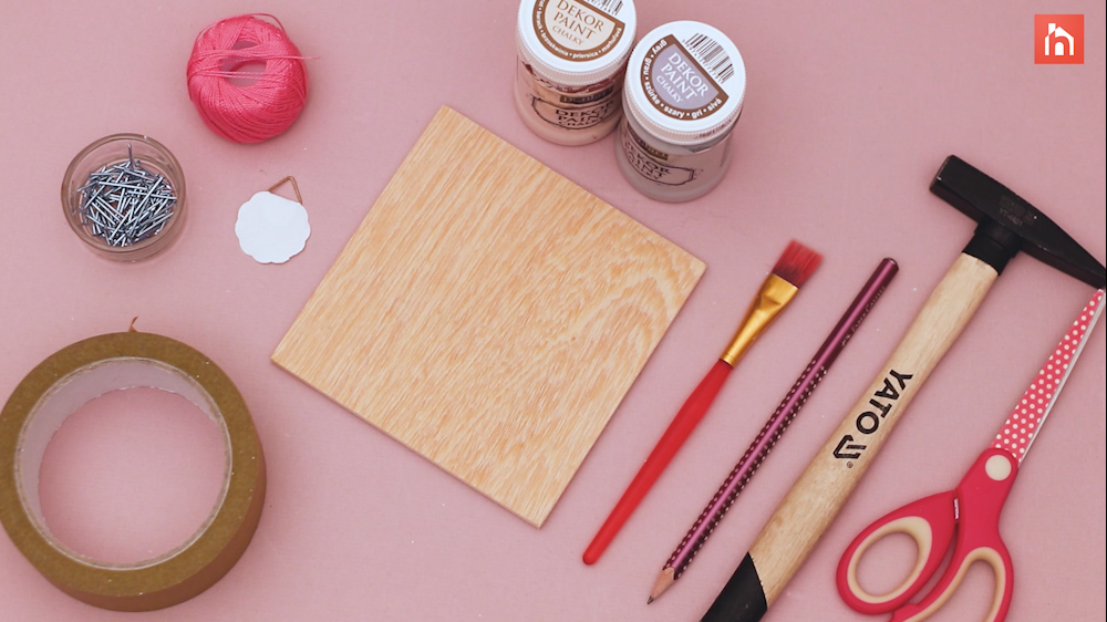 Materials needed for this string art project: